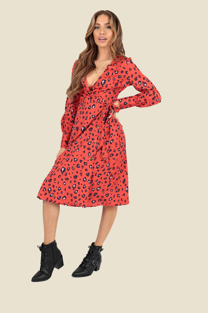 Ivykove Red Leopard Animal Wrap Midi Dress with Mock Horn Buttons