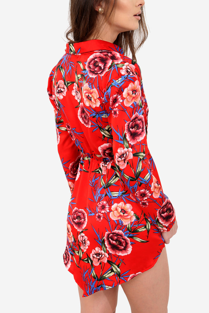 Red Plunge Floral Shirt Dress