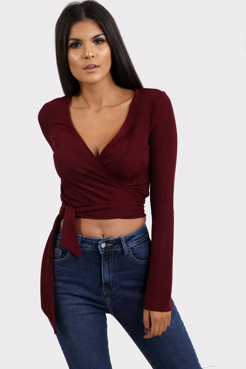 58015f24f Red Ribbed Wrap Crop Top | Long Sleeve Wrap Crop Top | Ivykove