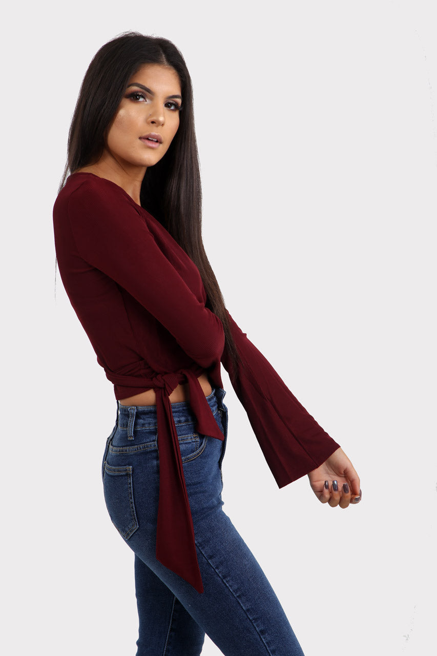 Red Ribbed Wrap Crop Top