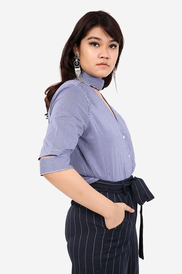 Blue Stripe Shirt With Cut Out Detail