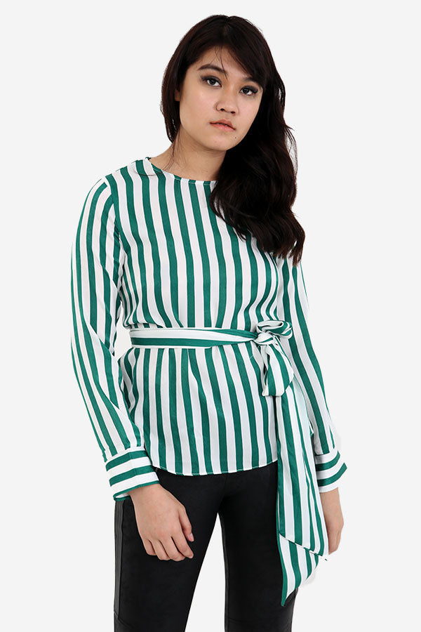 Striped Long Sleeved Top With Wrap Belt