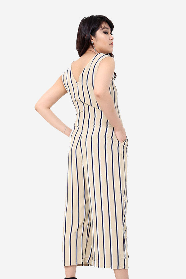 Beige Striped Jumpsuit