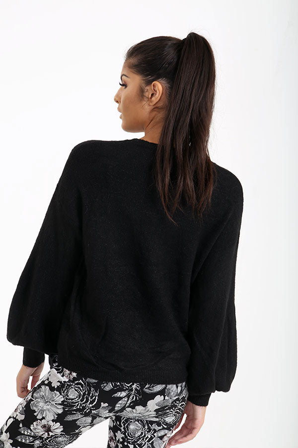 Black Glitter Knitted Jumper