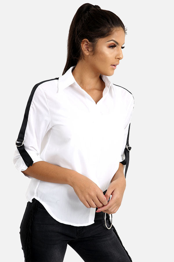 White Shirt With Black Striped Sleeves