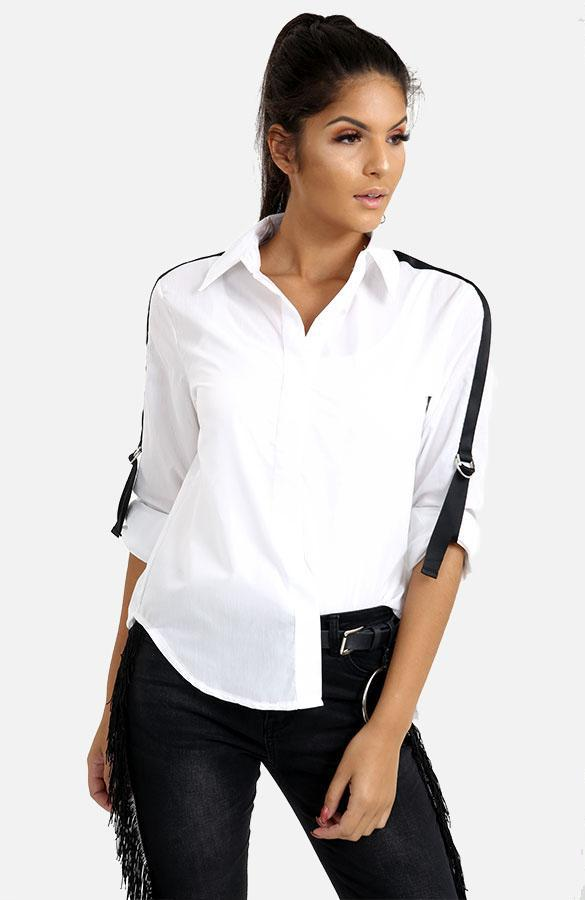 Shirt With Black Striped Sleeves