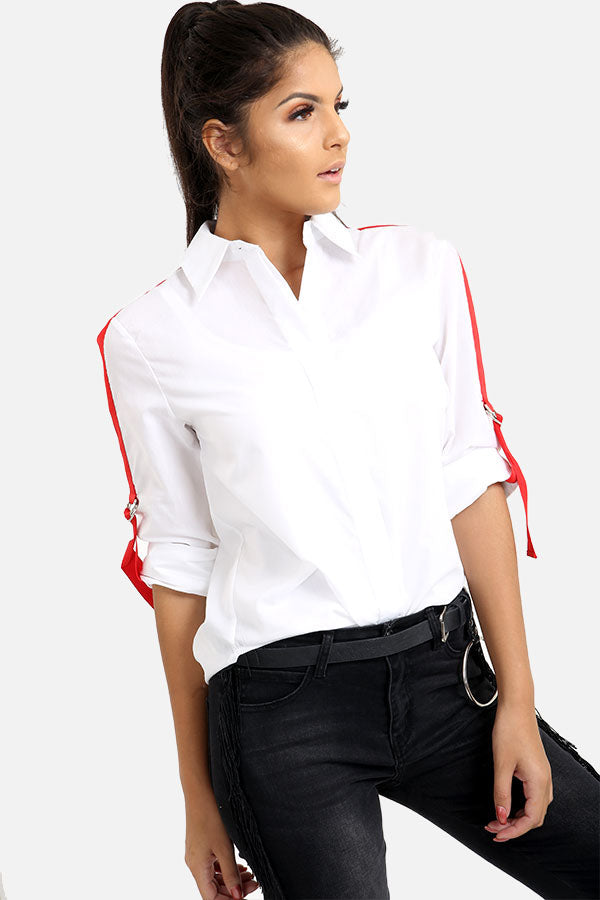 Shirt With Red Striped Sleeves