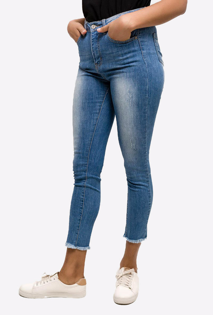 Light Blue Skinny Jeans With Raw Edges