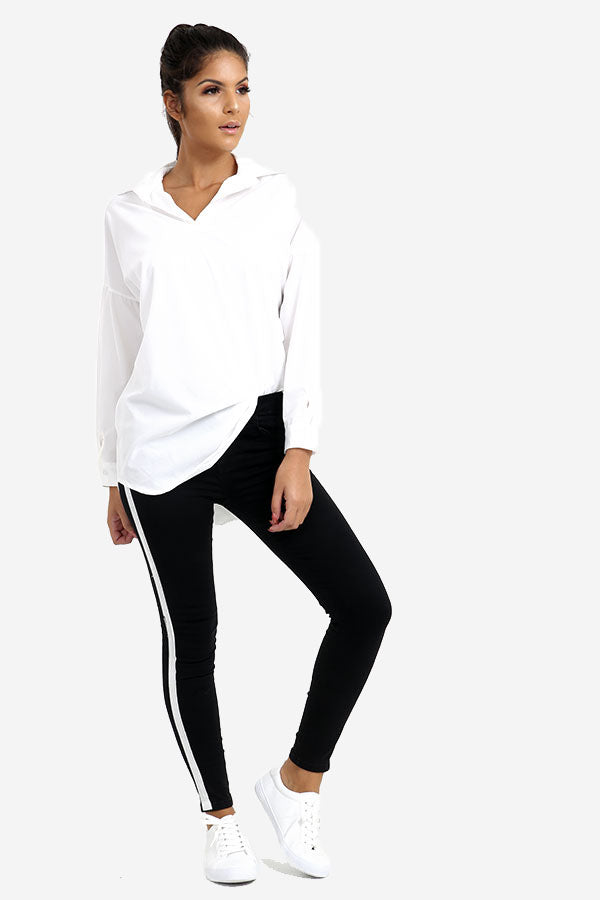 Black Skinny Jeans With Side Stripe