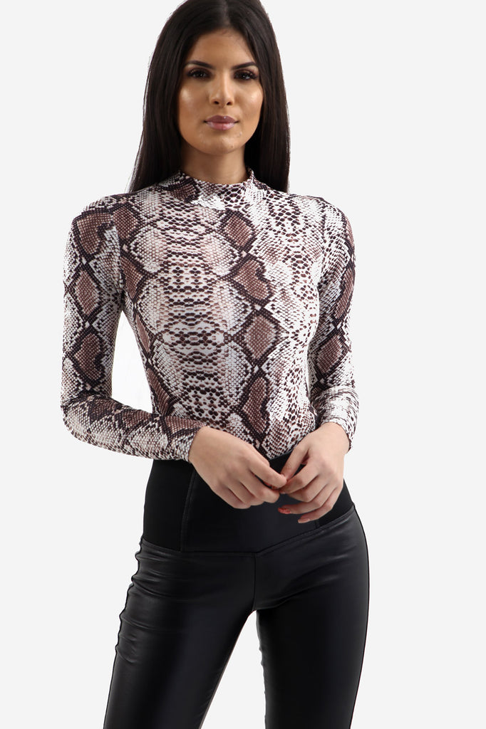 White Snake Print Long Sleeve Bodysuit