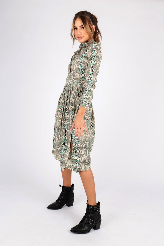 Green Snake Print Midi Shirt Dress With Side Splits