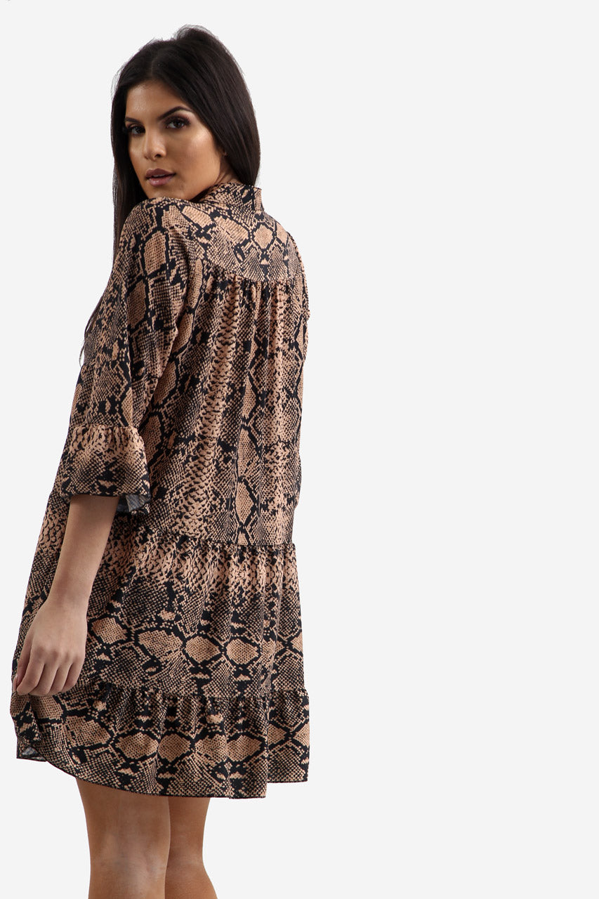 Brown Snake Print Oversized Shift Dress