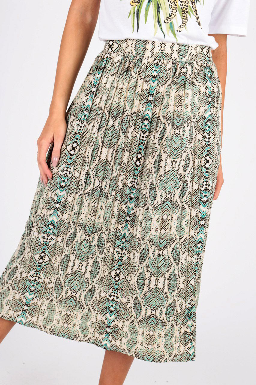 Green Snake Print Pleated Midi Skirt