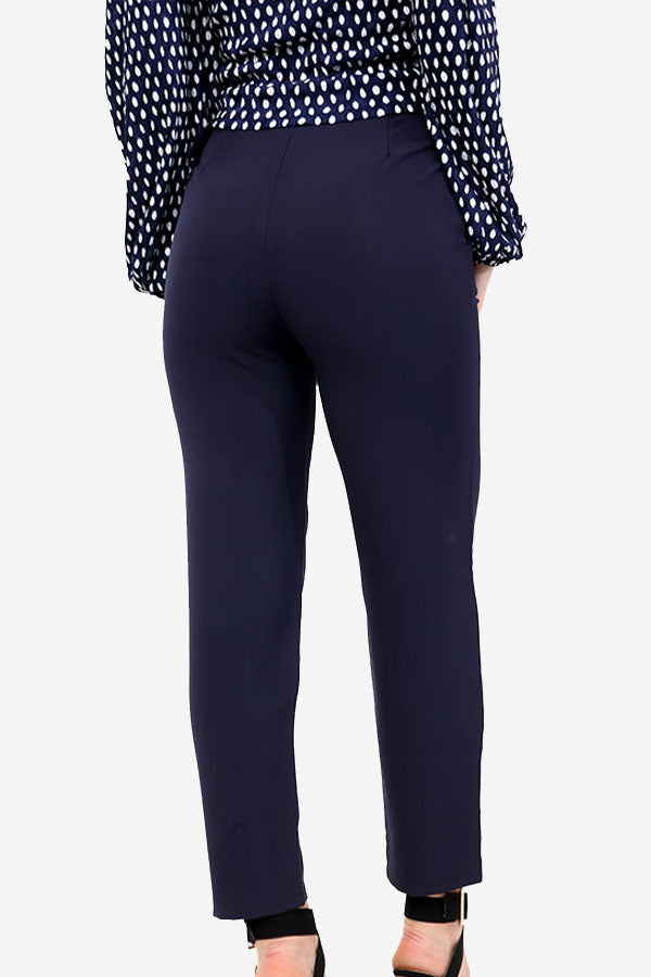 Navy Straight Leg Belted Trousers