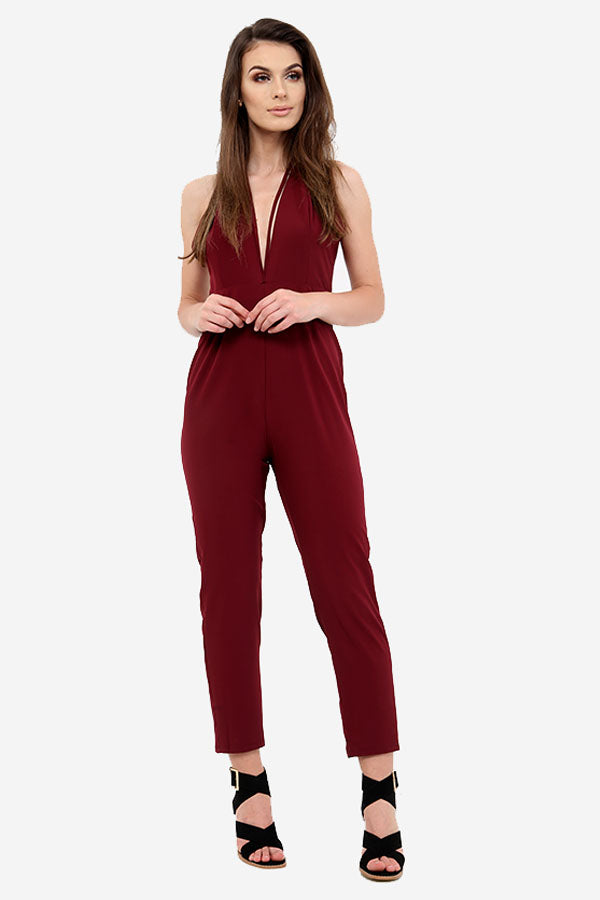 Wine Low Cut V Neck Jumpsuit