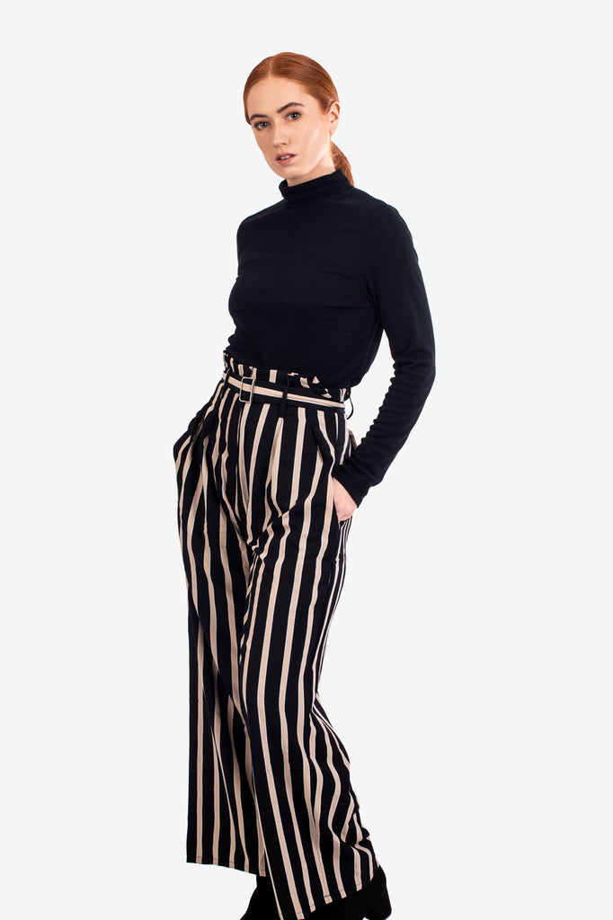 Black High Waisted Striped Trousers