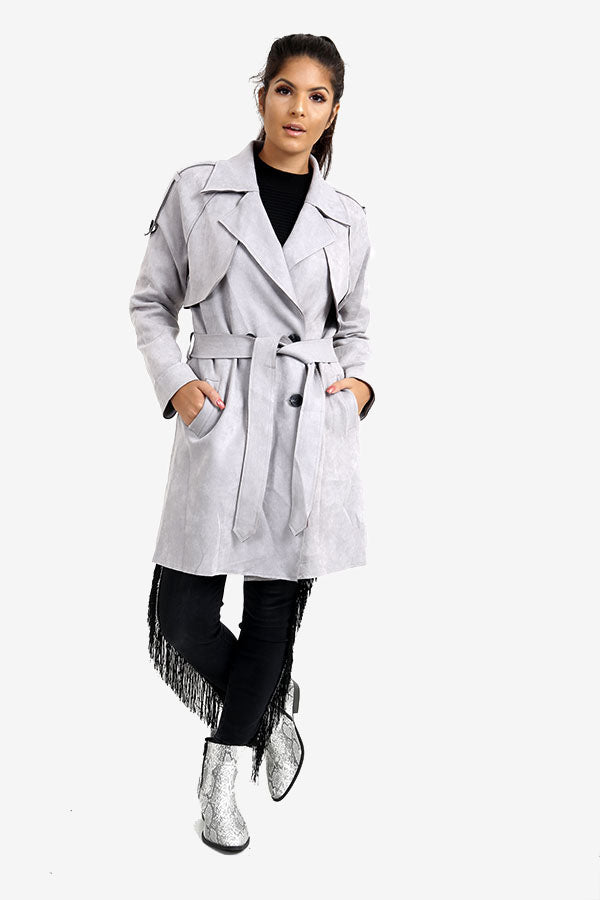 Grey Suede Trench Coat