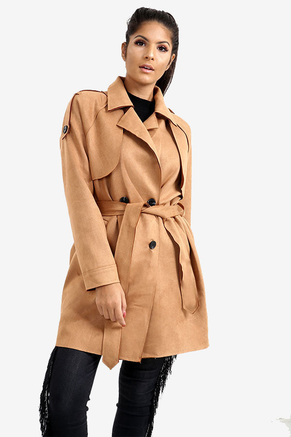 Tan Suede Trench Coat