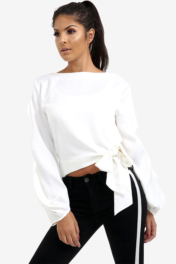 White Tie Side Top With Detailed Sleeves