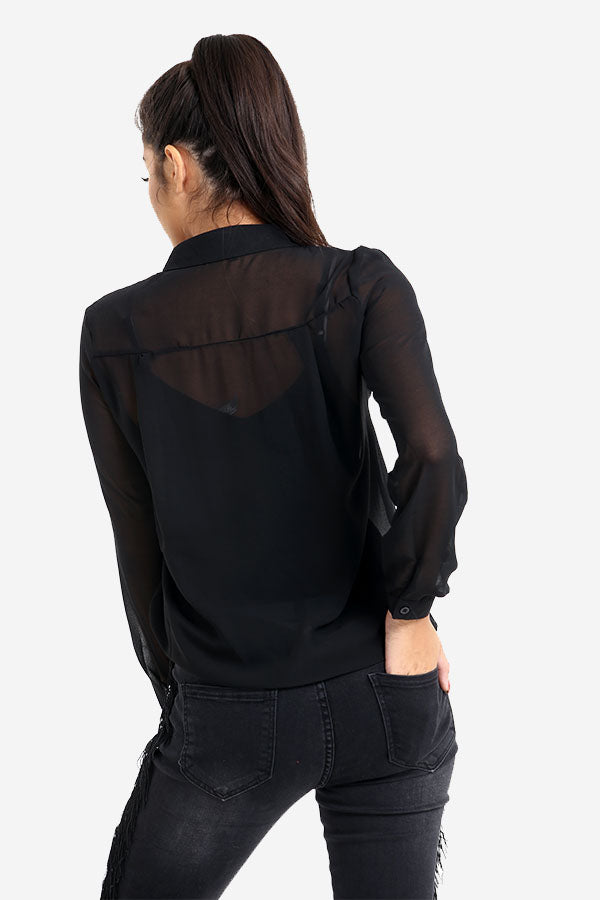 Black Transparent Shirt With Buckle Detail