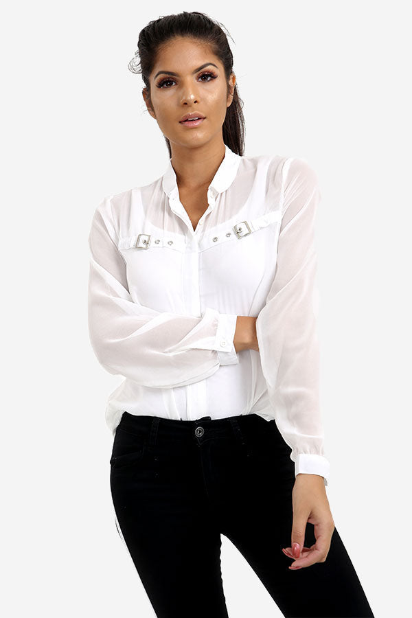 White Transparent Shirt With Buckle Detail