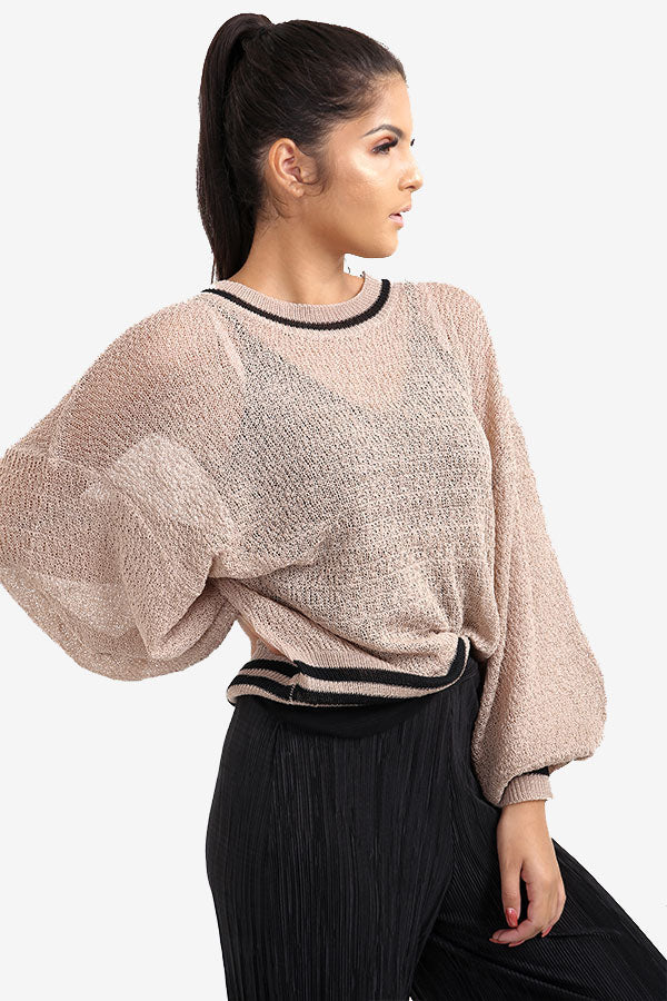 Camel Transparent Sweater With Striped Border