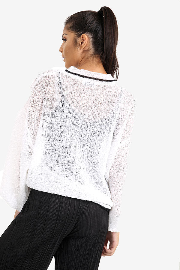 White Transparent Sweater With Striped Border