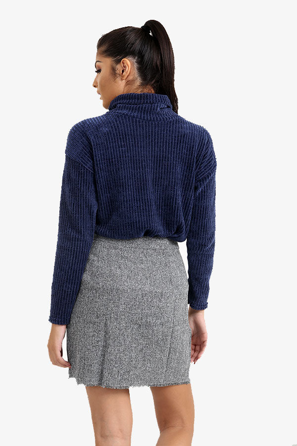 Navy Blue Roll Neck Ribbed Jumper