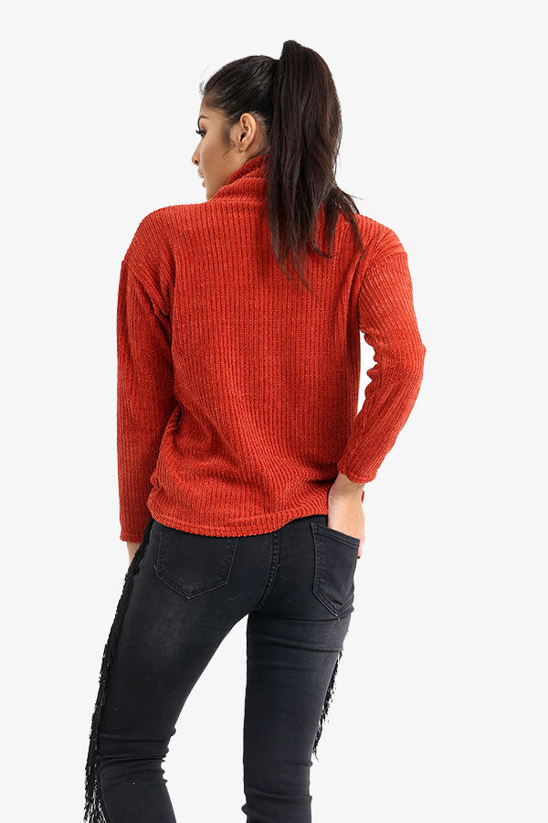Burnt Orange Roll Neck Ribbed Jumper