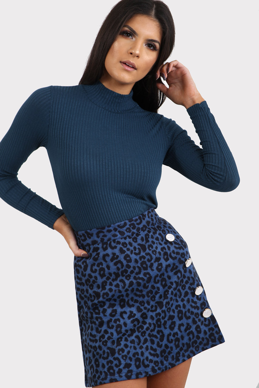 Blue Ribbed Turtle Neck Top