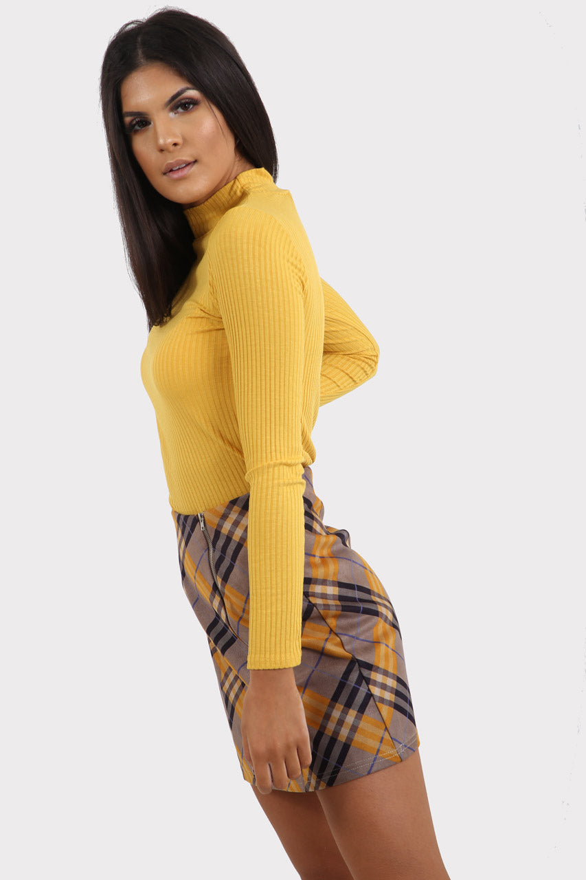 Yellow Ribbed Turtle Neck Top
