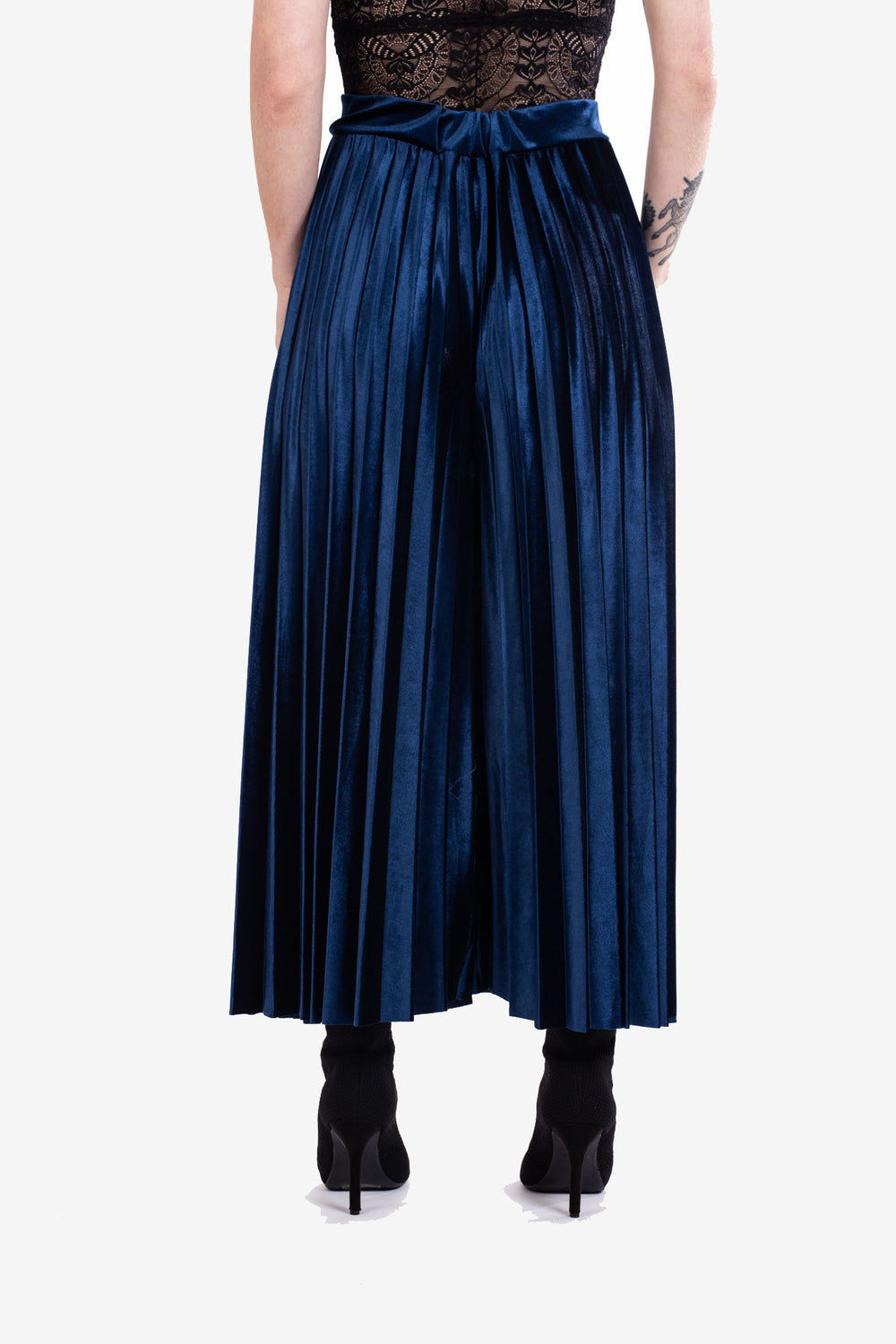 Midnight Blue Pleated Velvet Culottes