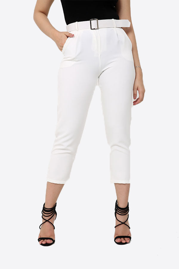 White Slim Fit Belted Trousers