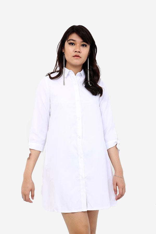 White Shirt Dress With Bow Cuffs