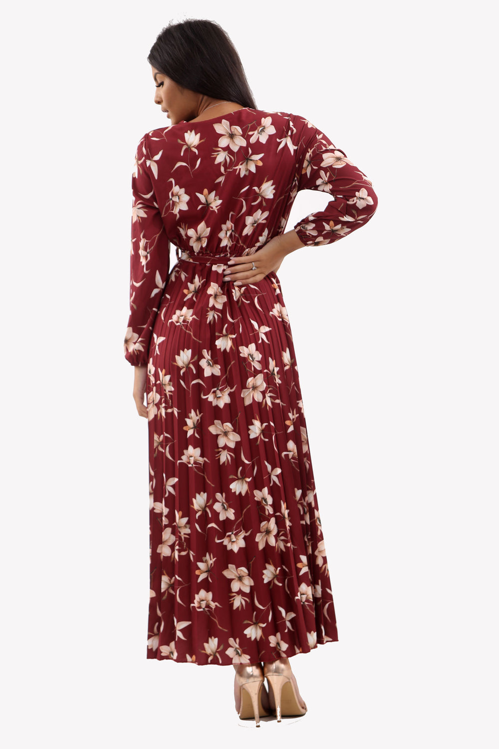 Wine Floral Pleated Maxi Dress