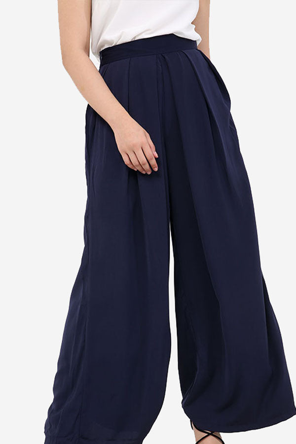 Navy High Waisted Palazzo Trousers