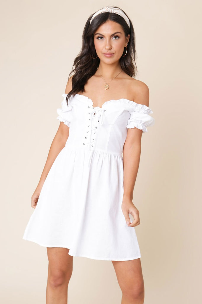 Ivykove White Off the Shoulder Lace Up Detail Skater Dress