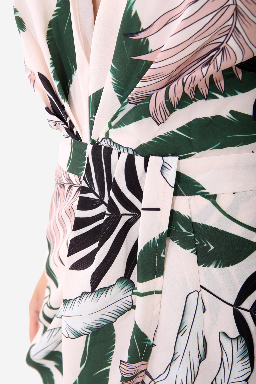 White Palm Leaf Playsuit