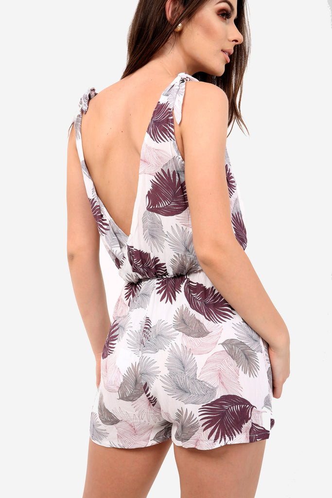 White Palm Leaf Printed Playsuit