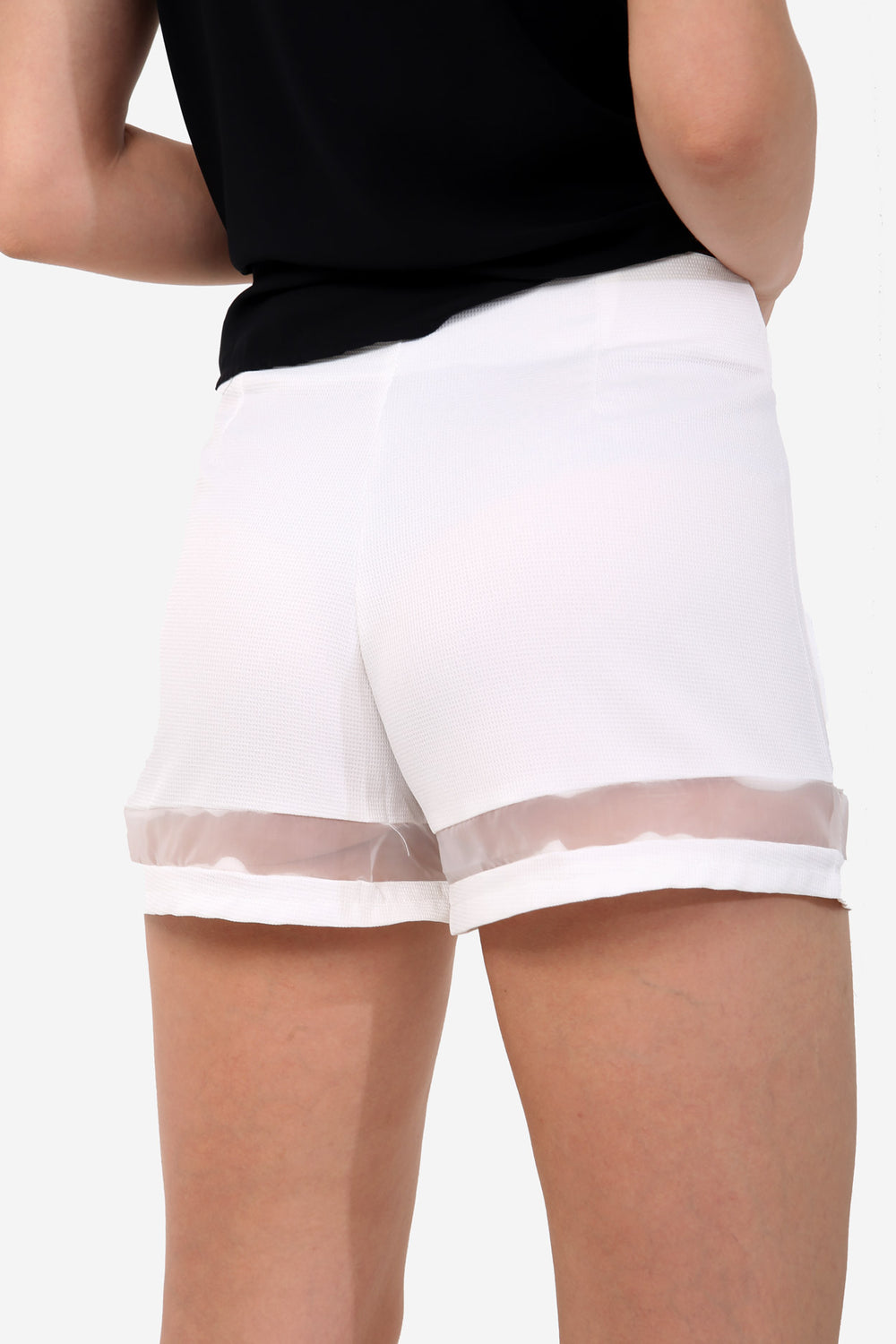 White Sheer Panel High Waisted Shorts