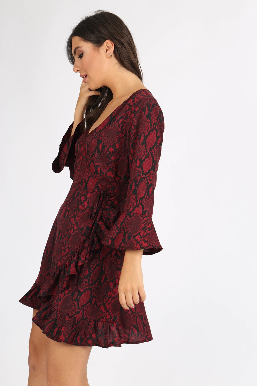 Wine Snake Print Self Tie Ruffle Wrap Mini Dress