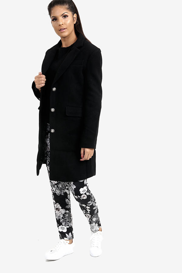 Black Wool Tailored Coat