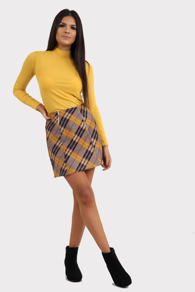Yellow Check Skirt With Zips