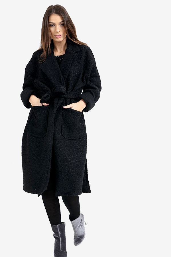 Black Long Teddy Bear Oversized Coat