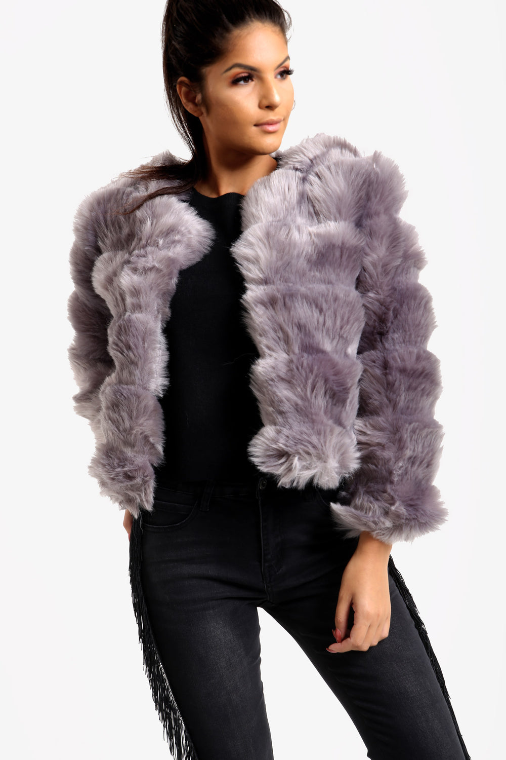Silver Grey Faux Fur Coat