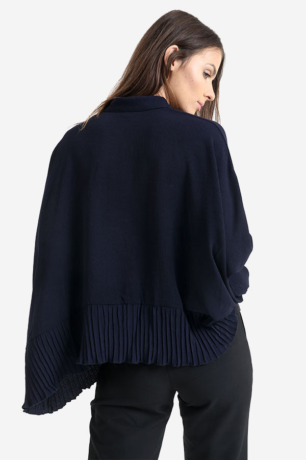 Navy Frill Detailed Oversized Shirt