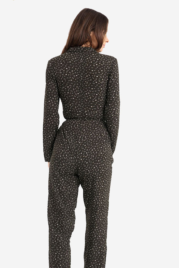 dea0903674a0 Dark Green Printed Wide Leg Boiler-suit style Jumpsuit