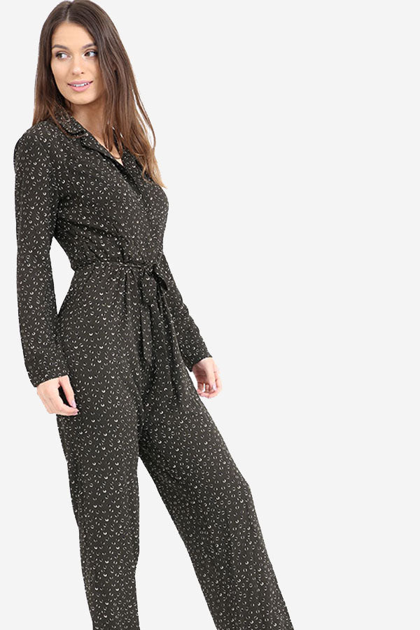 Dark Green Printed Wide Leg Boiler-suit style Jumpsuit