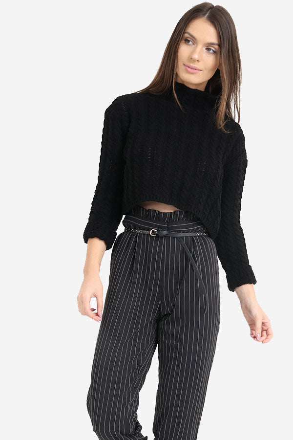 Black Knitted Cropped Jumper