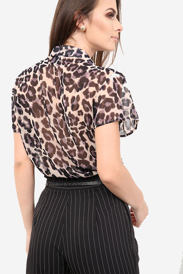 Leopard Print Relaxed Fit Shirt